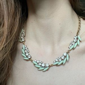 J. Crew Jeweled Costume Feather Fern Necklace